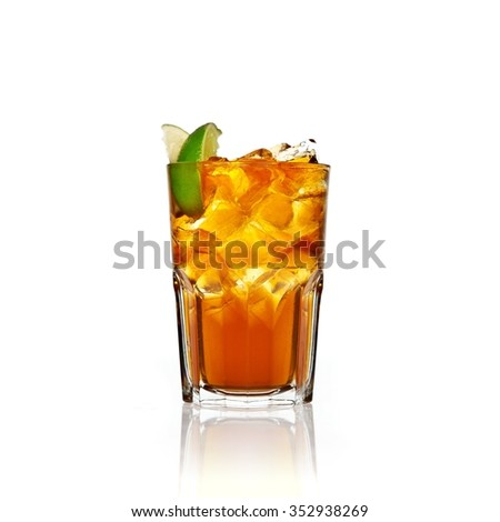 Refreshing Ice cold alcoholic cocktail in a glass on a white background with reflection
