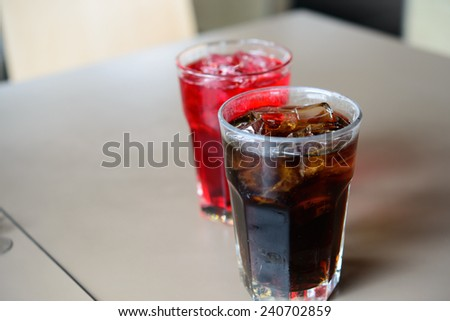 Refreshing Ice Drink. Three glasses of colorful refreshing ice drinks - stock photo