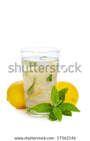 Refreshing lemonade isolated on white background - stock photo