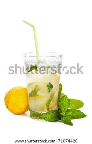 Refreshing lemonade with lemon and mint isolated on white background - stock photo