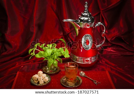 Refreshing mint tea in traditional Arabian countries