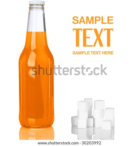 Refreshing Orange Soda Pop With Sugar Cubes Isolated On White Background
