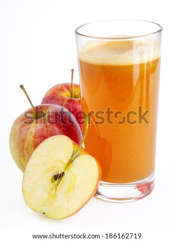 Refreshing Organic Apple Juice on a background