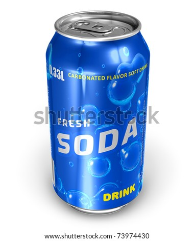 Refreshing soda drink in metal can - stock photo