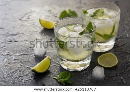 Refreshing summer cocktail with lime and mint. Mojito cocktail, selective focus - stock photo