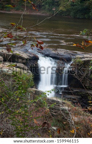Refreshing waterfall, from High Falls on Town Creek in Alabama, southeastern USA