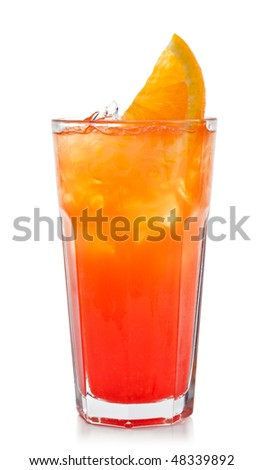 Refreshment Alcoholic Drink with Tequila, Orange Juice, and Grenadine Syrup - stock photo