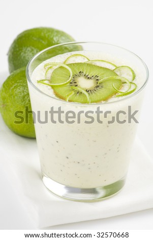 refreshment and creamy milkshake  kiwi and lime isolated