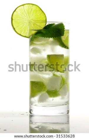 Refreshment cocktail on White background - stock photo