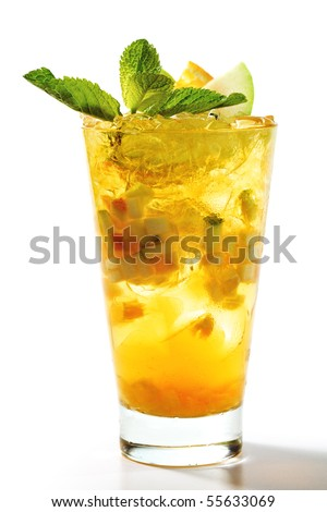 Refreshment Cocktail with Apple and Orange Slice. Garnished with Fresh Mint Leaves - stock photo