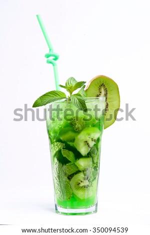Refreshment drink. Lemonade, Kiwi. - stock photo