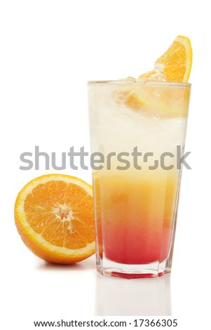 Refreshment Soft Drink made of Carbonated Water, Orange Juice, and Grenadine Syrup. Isolated on White Background.