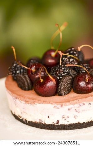 Refrigerated and unbaked cream cheese with fruits topping and within / Philadelphia cheese cake / Dessert for parties and festive occasions - stock photo