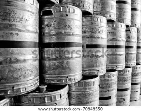 refrigerated beer kegs ready for distribution - stock photo