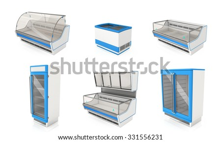 Refrigerated display cabinets for shops. Isolated on white - stock photo