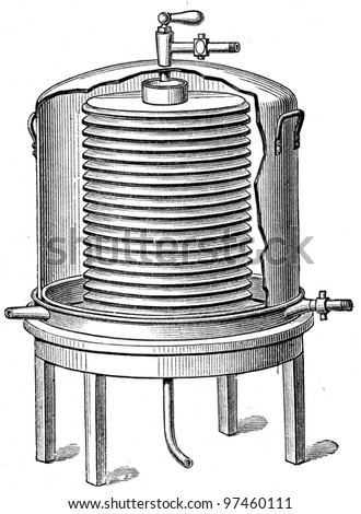 """refrigerator for milk - an illustration to article """"Milk"""" of the encyclopedia publishers Education, St. Petersburg, Russian Empire, 1896 - stock photo"""
