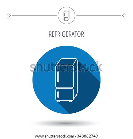 Refrigerator icon. Fridge sign. Blue flat circle button. Linear icon with shadow.  - stock photo