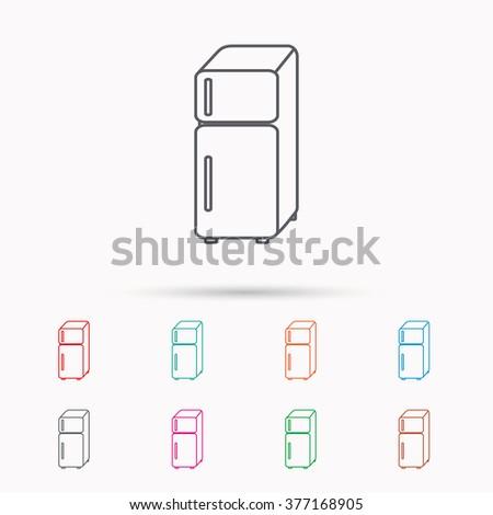 Refrigerator icon. Fridge sign. Linear icons on white background. - stock photo