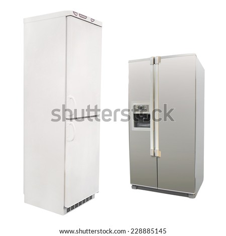 refrigerator isolated under the white background - stock photo