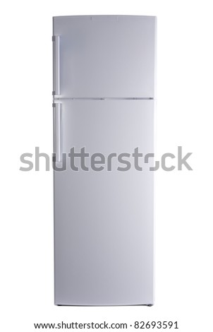 refrigerator on isolated background - stock photo