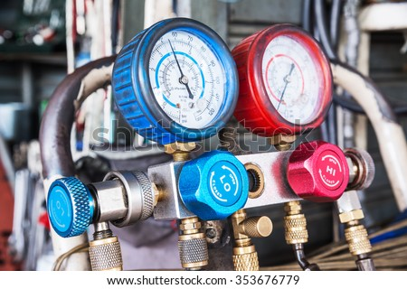 Refrigerator pressure gauges, manometers,quipment Measure of Air Conditioner - stock photo
