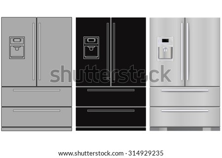 Refrigerator. Raster version. Illustration isolated on white background.