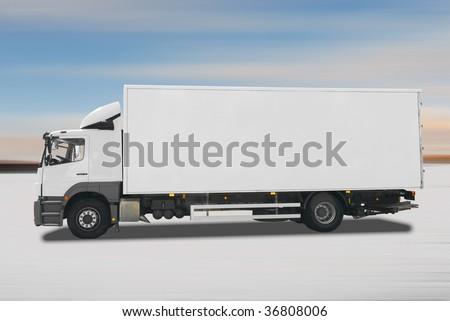 Refrigerator truck - stock photo