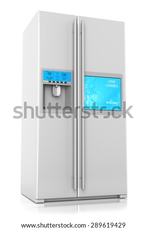 Refrigerator two-folding screen control and TV isolated on a white background - stock photo