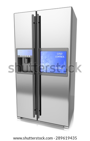 Refrigerator two-folding screen control and TV isolated on a white background