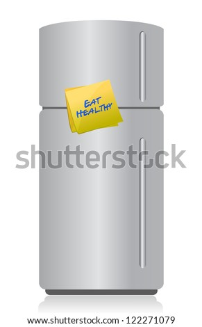 refrigerator with a sticky note and text: eat healthy - stock photo