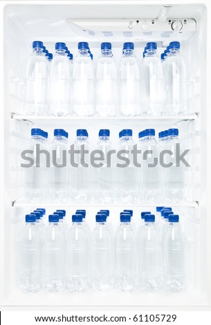 Refrigerator with several bottles of water