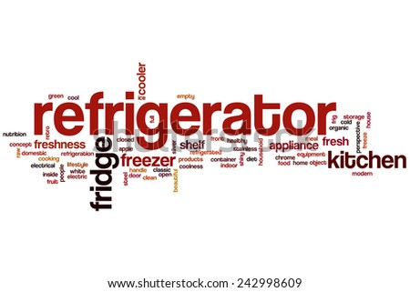 Refrigerator word cloud concept with fridge freezer related tags - stock photo