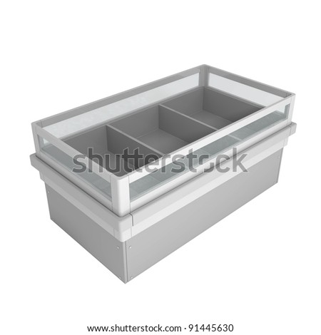Refrigerators at Store isolated on white - 3d illustration - stock photo