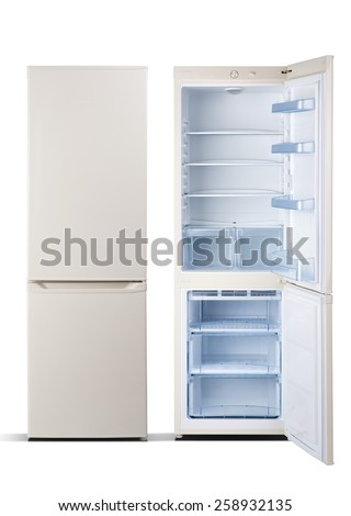 Refrigerators beige  color, combi  with freezer,  open door, isolated on white