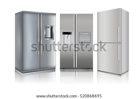 Refrigerators. 3d illustration isolated on white background. Raster version