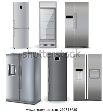 Refrigerators set. Silver fridge with two doors and glass door . Isolated on white background. Raster version - stock photo