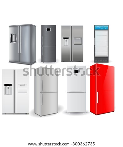 Refrigerators set. Silver fridge with two doors and glass door. Isolated on white background. Raster version