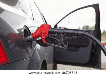 Refueling nozzle in the tank car at a fuel filling column. Summer day. Black car - stock photo