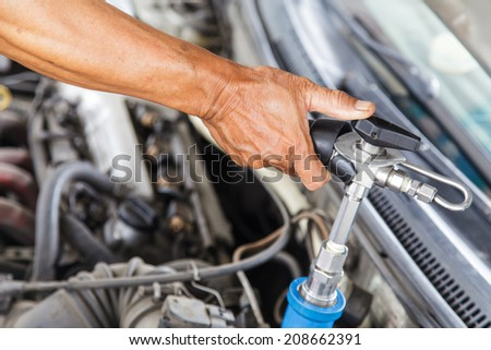 Refueling with natural gas, Filling station, LPG. CNG.  - stock photo