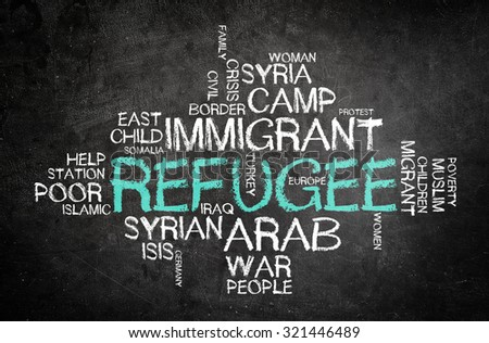 Refugee and additional coresponding words written with chalk on a blackboard - stock photo