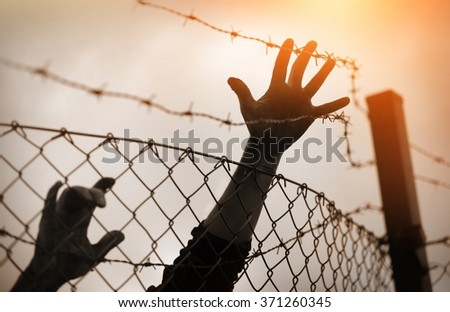 Refugee men and fence - stock photo