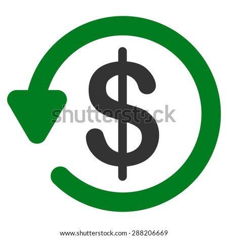 Refund icon from Business Bicolor Set. This flat raster symbol uses green and gray colors, rounded angles, and isolated on a white background. - stock photo
