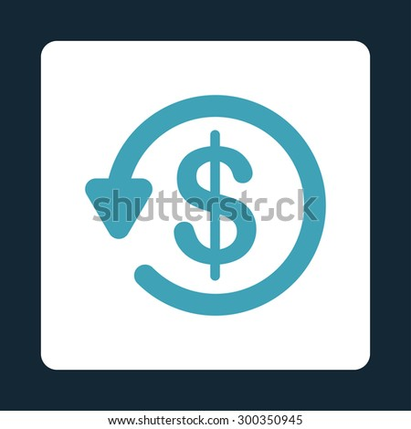 Refund icon. This flat rounded square button uses blue and white colors and isolated on a dark blue background. - stock photo