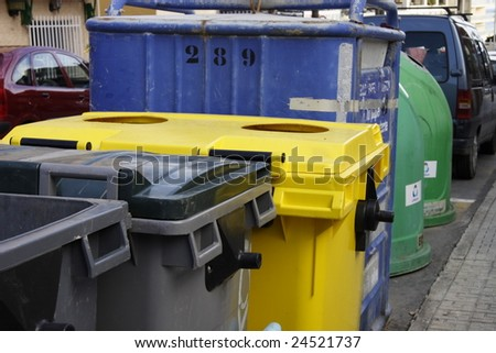 refuse bins with recycle bins in the streets - stock photo