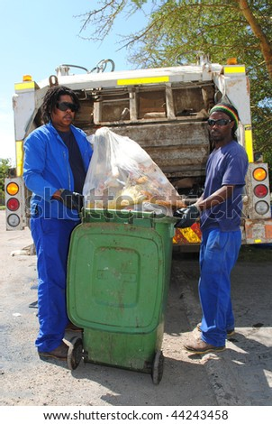 Refuse removal municipal workers - stock photo