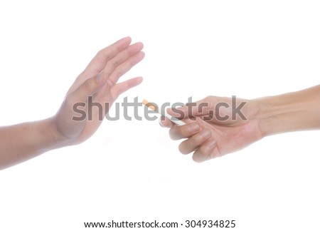 refused the offer of a cigarette - stock photo