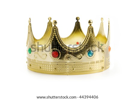 Regal kings crown isolated over white background - stock photo