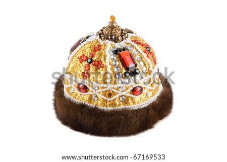 Regal kings fur crown isolated on a white background - stock photo
