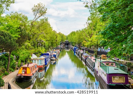 stock photo regent s canal little venice in london uk 428519911 - Каталог — Фотообои «Венеция»