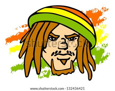 Reggae character. Portrait of Rastafarian. Raster version, vector file also included in the portfolio. - stock photo